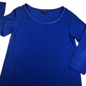 Lands' End Royal Blue 3/4 Sleeves Top Womens Small